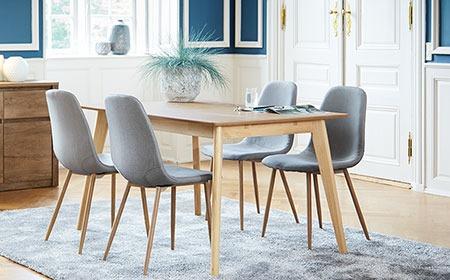 Ruokapöydät, ruokapöydän tuolit ja ruokailuryhmät useissa eri tyyleissä