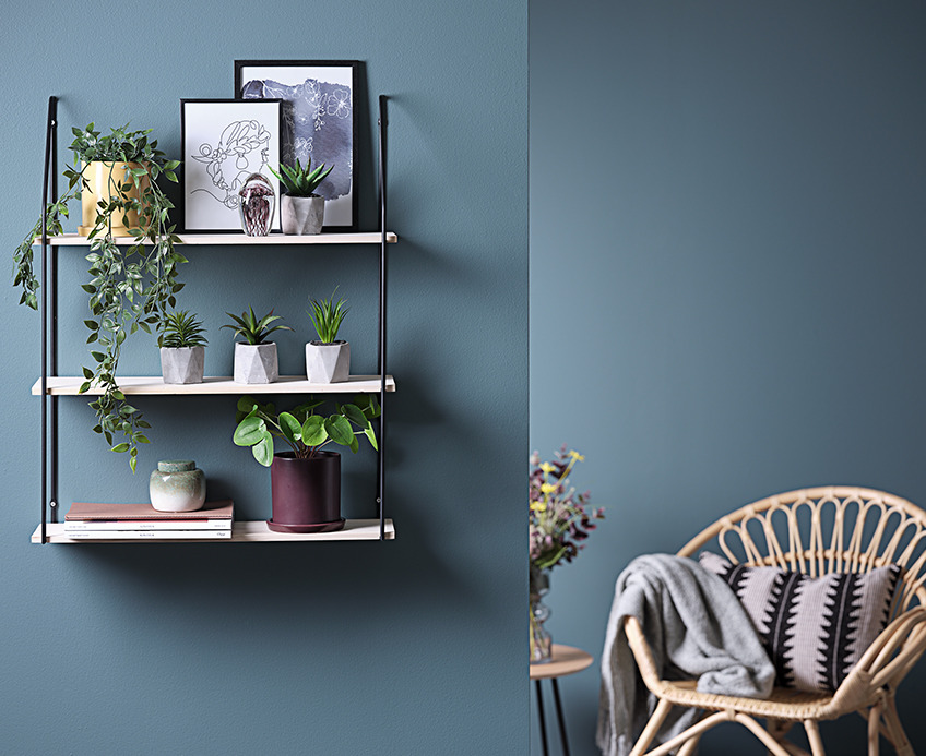 Artificial plants on a shelf in living room