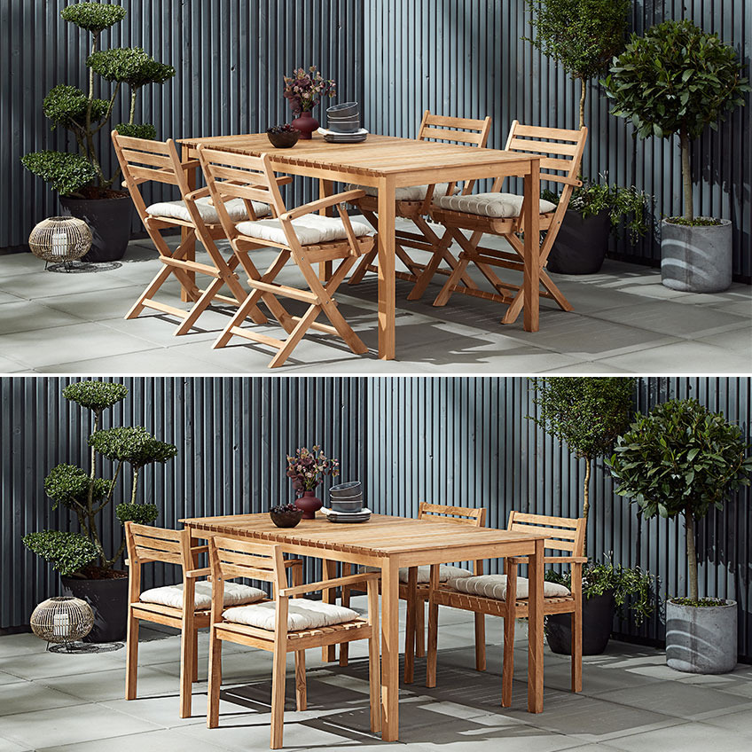 Two different teak garden furniture settings, one with folding chairs and the other with stacking chairs