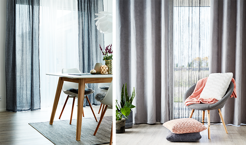 Join the fashion with long curtains in the living room